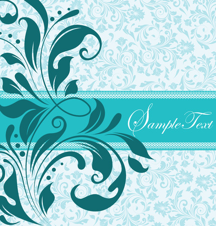 Vintage invitation card with ornate elegant retro abstract floral design, teal blue flowers and leaves on light blue and white background with ribbon text label. Vector illustration. Ilustração
