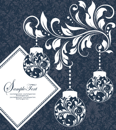 Vintage Christmas card with ornate elegant retro abstract floral design, balls with white flowers and leaves on midnight blue background with diamond text label. Vector illustration.