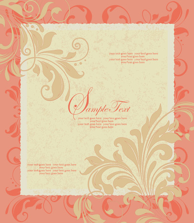 Vintage invitation card with ornate elegant retro abstract floral design, pale orange and orange flowers and leaves on pale yellow and light orange background with frame border and text label. Vector illustration.