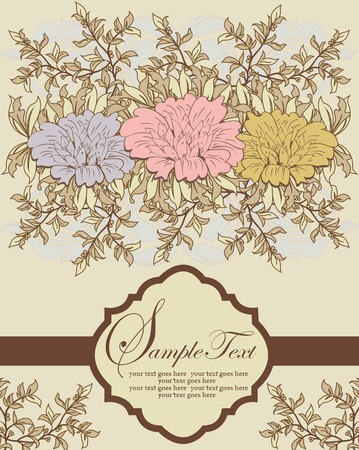 Vintage invitation card with ornate elegant retro abstract floral design, gray pink and orange flowers with beige and tan leaves on pale yellow background with brown ribbon and plaque text label. Vector illustration.