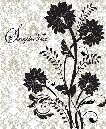 Vintage invitation card with ornate elegant retro abstract floral design, black flowers and leaves on grayish green and white background with text label. Vector illustration.