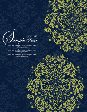 yellow vector: Vintage invitation card with ornate elegant retro abstract floral design, yellow green flowers and leaves on midnight blue background with text label. Vector illustration.