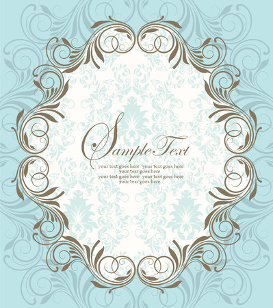 Vintage invitation card with ornate elegant retro abstract floral design, gray flowers and leaves on light blue background with oblong text label. Vector illustration.