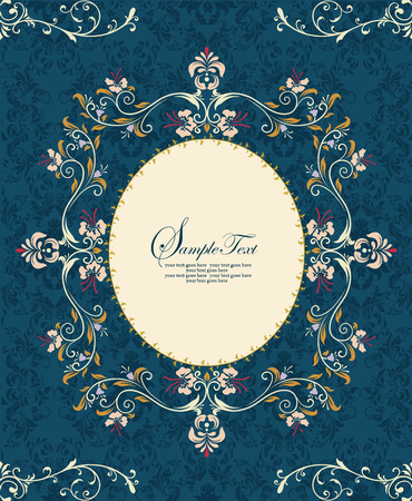 oblong: Vintage invitation card with ornate elegant retro abstract floral design, multi-colored flowers and leaves on midnight blue background with oblong frame border and text label. Vector illustration. Illustration