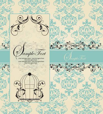 blue damask: Vintage blue damask invitation card