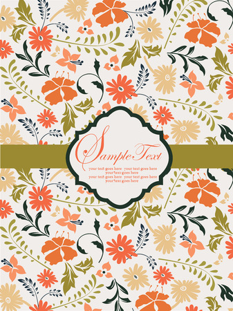 Vintage invitation card with ornate elegant retro abstract floral design, orange and yellow orange flowers and olive green and black leaves on faded green background with ribbon and plaque text label. Vector illustration. Illustration