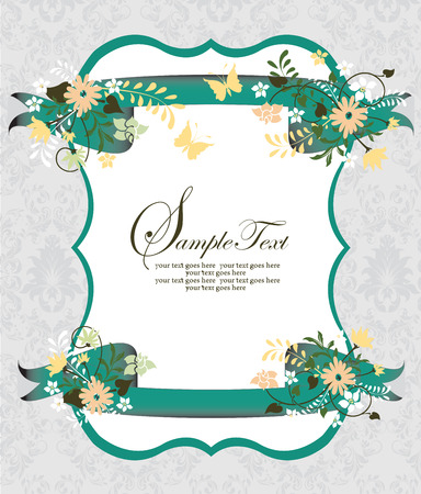 Vintage invitation card with ornate elegant retro abstract floral design, multi-colored flowers and leaves on pale green and white background with green ribbon border and text label. Vector illustration.