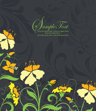 yellow vector: Vintage invitation card with ornate elegant retro abstract floral design, yellow and green flowers and leaves on gray and black background with text label. Vector illustration.