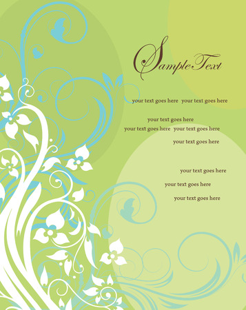 yellow vector: Vintage invitation card with ornate elegant retro abstract floral design, white and light blue flowers and leaves on yellow and green background with text label. Vector illustration.