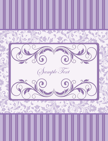 Vintage invitation card with ornate elegant retro abstract floral design, violet flowers and leaves on light violet and white background with stripes and rectangular text label. Vector illustration. Illustration