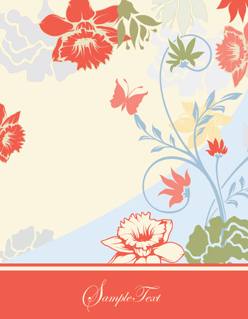 pale yellow: Vintage invitation card with ornate elegant retro abstract floral design, multi-colored flowers and leaves on pale yellow and blue background with orange ribbon text label. Vector illustration.