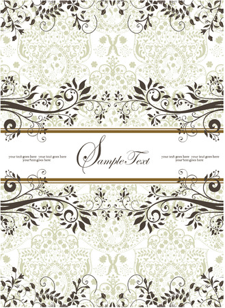 groene bloemen: Vintage invitation card with ornate elegant retro abstract floral design, gray and light olive green flowers and leaves on white background with ribbon text label. Vector illustration. Stock Illustratie