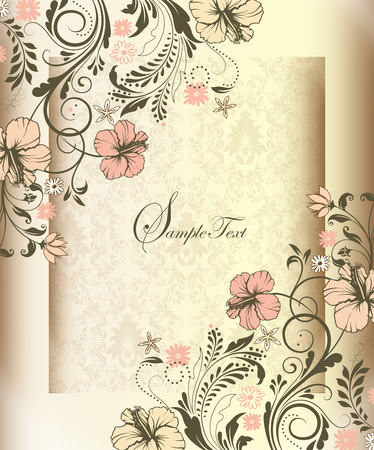 label frame: Vintage invitation card with ornate elegant retro abstract floral design, pink and beige flowers and gray leaves on shiny beige and light brown background with frame border text label. Vector illustration.