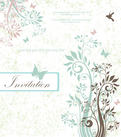 pale green: Vintage invitation card with ornate elegant retro abstract floral design, light teal and light grayish brown flowers and leaves on pale green and white background with butterflies birds and text label. Vector illustration. Illustration