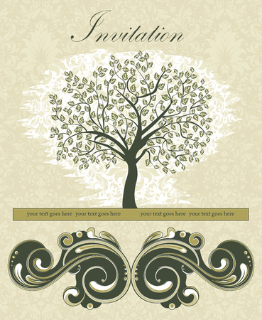 tree: Vintage invitation card with ornate elegant retro abstract floral tree design, tree with dark green leaves on beige background with text label. Vector illustration. Illustration