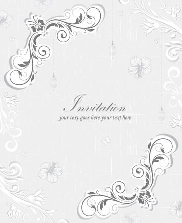 scratch card: Vintage invitation card with ornate elegant retro abstract floral design, gray and white flowers and leaves on scratch textured faded green background with text label. Vector illustration.