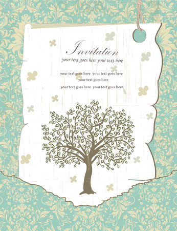 Vintage invitation card with ornate elegant retro abstract floral tree design, grayish green leaves on pale yellow and teal background with text label on tag. Vector illustration.