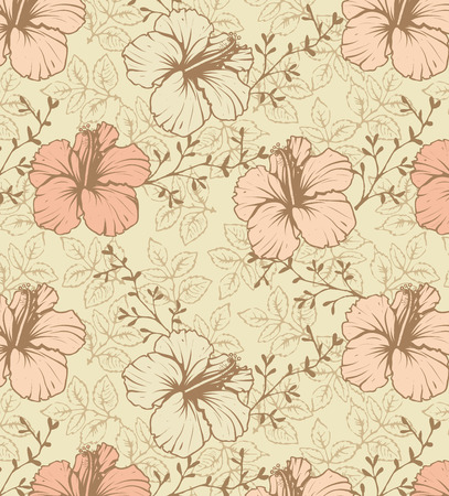 pale yellow: Vintage background with ornate elegant retro abstract floral design, peach and pale yellow Hibiscus flowers and leaves on pale yellow background. Vector illustration.
