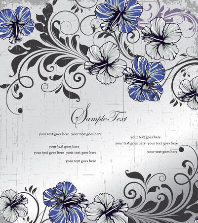 Vintage invitation card with ornate elegant retro abstract floral design, blue and gray flowers and leaves on scratch textured light gray background with text label. Vector illustration.