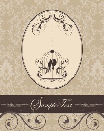 birdcage: Brown vintage invitation card with birdcage Illustration