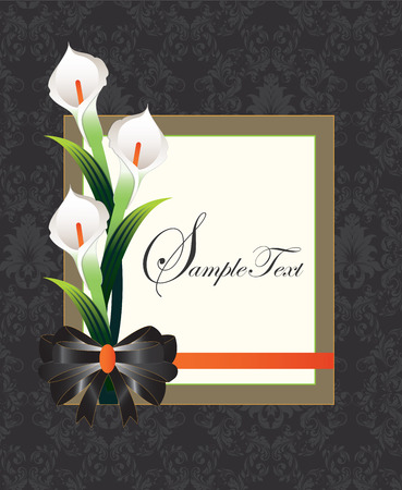 Vintage invitation card with ornate elegant retro abstract floral design, white flowers and green leaves on white background with with text label and brown frame border with ribbon on gray and black background. Vector illustration. Vector
