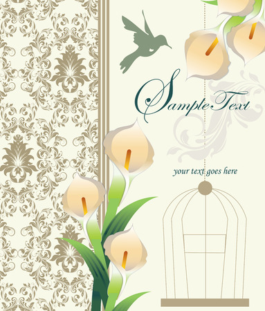 Vintage invitation card with ornate elegant retro abstract floral design, pale yellow orange flowers and green leaves on faded green and gray background with birds and text label. Vector illustration.