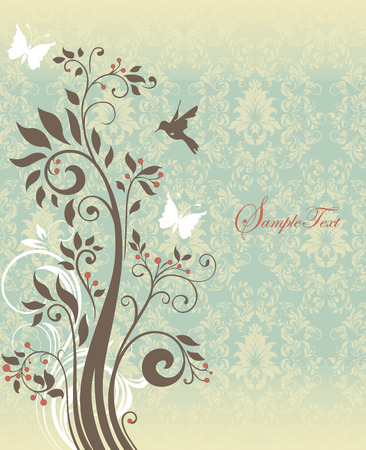 yellow vector: Vintage invitation card with ornate elegant retro abstract floral tree design, light brown tree with flowers and leaves on pale green and yellow background with butterflies and text label. Vector illustration. Illustration