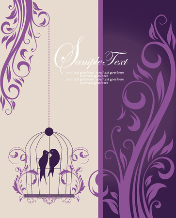 Vintage invitation card with ornate elegant retro abstract floral design, purple flowers and leaves on pale yellow and dark purple background with birds and text label. Vector illustration. Illusztráció