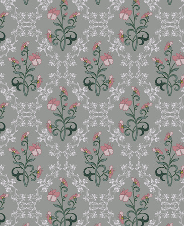 design: Vintage background with ornate elegant retro abstract floral design, pink pale red and white flowers and green leaves on gray background. Vector illustration.