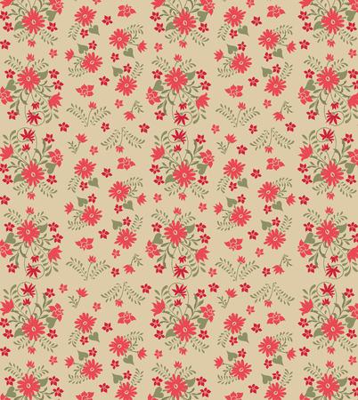 Vintage background with ornate elegant retro abstract floral design, red orange flowers and olive green leaves on khaki background. Vector illustration. Illustration