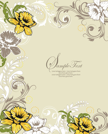 thank you cards: Vintage invitation card with ornate elegant retro abstract floral design, white gray and yellow orange flowers and leaves on pale green background with text label. Vector illustration. Illustration