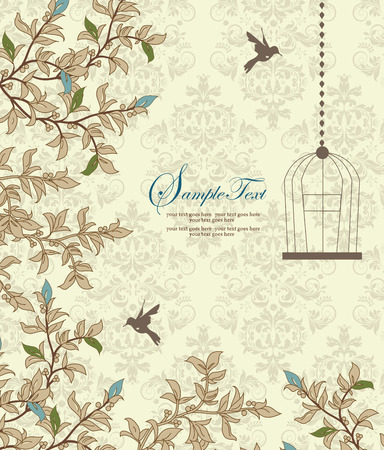 royal wedding: Vintage invitation card with ornate elegant retro abstract floral design, light blue green and tan flowers and leaves on pale yellow and green background with birds and text label. Vector illustration.
