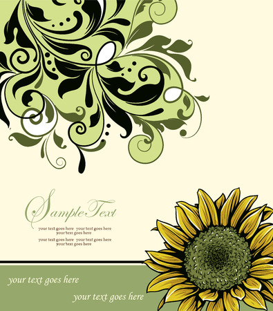 pale yellow: Vintage invitation card with ornate elegant retro abstract floral design, yellow green and black flowers and leaves on pale yellow background with text label. Vector illustration.