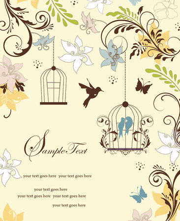 pale yellow: Vintage invitation card with ornate elegant retro abstract floral design, multi-colored flowers and leaves on pale yellow background with birds and butterflies and text label. Vector illustration. Illustration