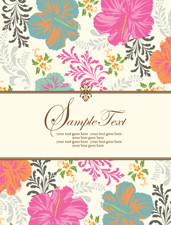 Vintage invitation card with ornate elegant retro abstract floral design, multi-colored flowers and leaves on beige background with ribbon text label. Vector illustration.