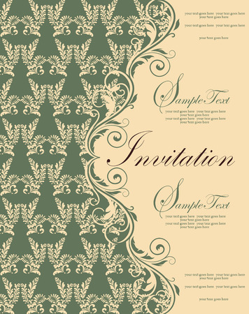 Vintage invitation card with ornate elegant retro abstract floral design, pale yellow flowers and leaves on laurel green and pale yellow background with text label. Vector illustration. Illustration