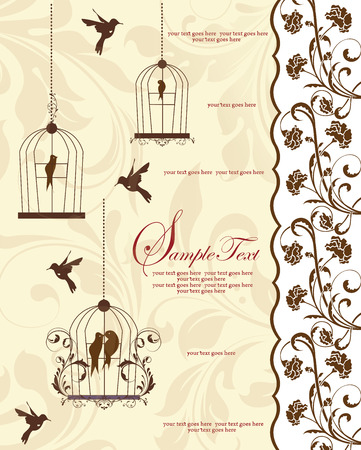 pale yellow: Vintage invitation card with ornate elegant retro abstract floral design, brown flowers and leaves on pale yellow background with birds and text label. Vector illustration.