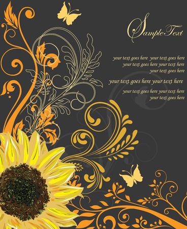華やかなエレガントなレトロな抽象的な花柄のデザイン、黄色とオレンジとビンテージ招待カード花し、黒の背景にヒマワリの蝶とテキスト ラベル  イラスト・ベクター素材