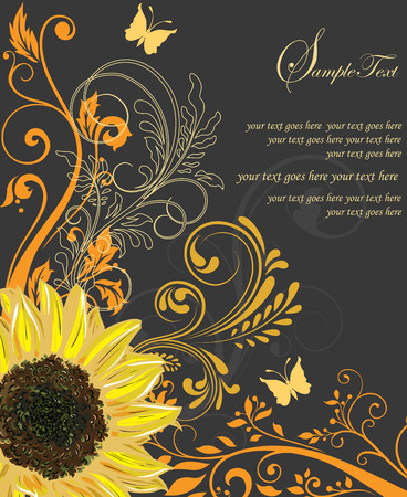 Vintage invitation card with ornate elegant retro abstract floral design, yellow and orange flowers and leaves on black background with sunflower butterfly and text label. Vector illustration. Illustration