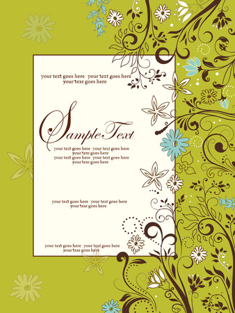 yellow vector: Vintage invitation card with ornate elegant retro abstract floral design, light blue white and brown flowers and leaves on yellow green background with frame border text label. Vector illustration. Illustration