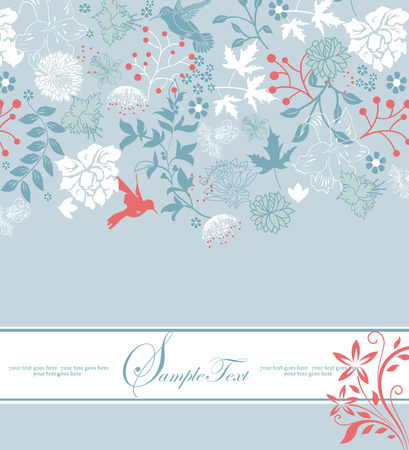 garden party: Vintage invitation card with ornate elegant retro abstract floral design, light red light blue and white flowers and leaves on pale blue background with ribbon text label. Vector illustration.