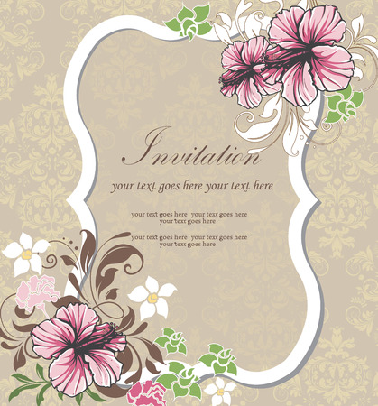 Vintage invitation card with ornate elegant retro abstract floral design, multi-colored flowers and leaves on gray background with plaque text label. Vector illustration.