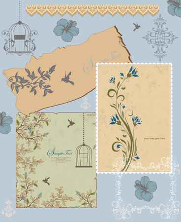 bluish: Vintage invitation card with ornate elegant retro abstract floral design, bluish gray and light brown flowers and leaves on grayish green beige and bluish gray background with frame borders birds and text label. Vector illustration.