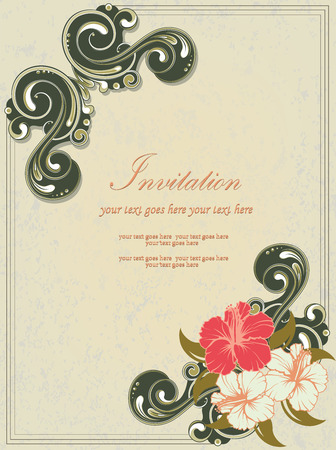 vintage frame vector: Vintage invitation card with ornate elegant retro abstract floral design, red pale yellow and dark olive green flowers and leaves on grayish green background with frame border and text label. Vector illustration. Illustration