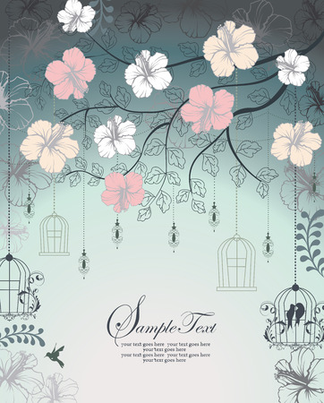bluish: Vintage invitation card with ornate elegant retro abstract floral design, multi-colored flowers and leaves on bluish gray background with lanterns birds and text label. Vector illustration. Illustration