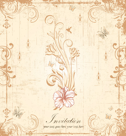 royal wedding: Vintage invitation card with ornate elegant retro abstract floral design, pink and light brown flowers and leaves on scratch textured beige background with lanterns butterflies birds and text label. Vector illustration.