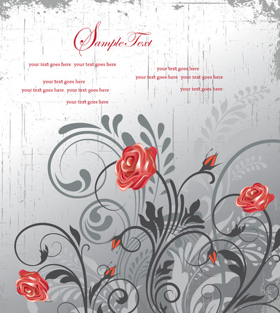 scratch card: Vintage invitation card with ornate elegant retro abstract floral design, red and gray flowers and leaves on scratch textured light gray background with text label. Vector illustration.