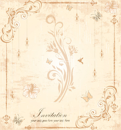 scratch card: Vintage invitation card with ornate elegant retro abstract floral design, light brown flowers and leaves on scratch textured faded beige background with lanterns butterflies frame border and text label. Vector illustration. Illustration