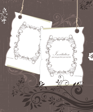 scratch card: Vintage invitation card with ornate elegant retro abstract floral design, gray and grayish brown flowers and leaves on scratch textured background with plaque text label on tags. Vector illustration.