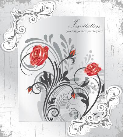 scratch card: Vintage invitation card with ornate elegant retro abstract floral design, red and gray flowers and leaves on scratch faded textured light gray background with frame text label. Vector illustration.